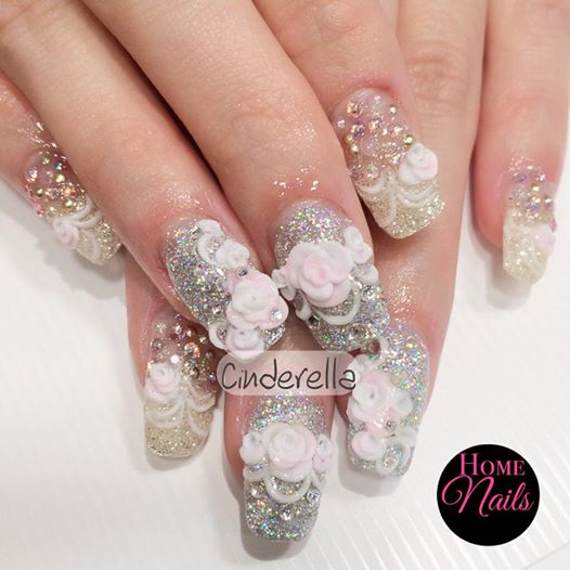 Wedding Nail Art Designs Gallery: Cinderella Bridal Nail Art Design
