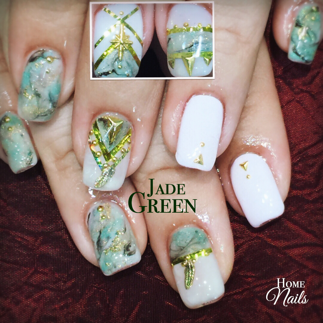 Jade Marble gelish nail art | Homenails