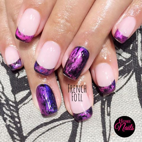 French Foil Gelish Nail Art Design | Homenails