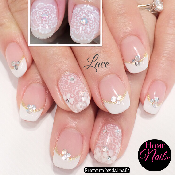 Intricate Lace Bridal Nail Design