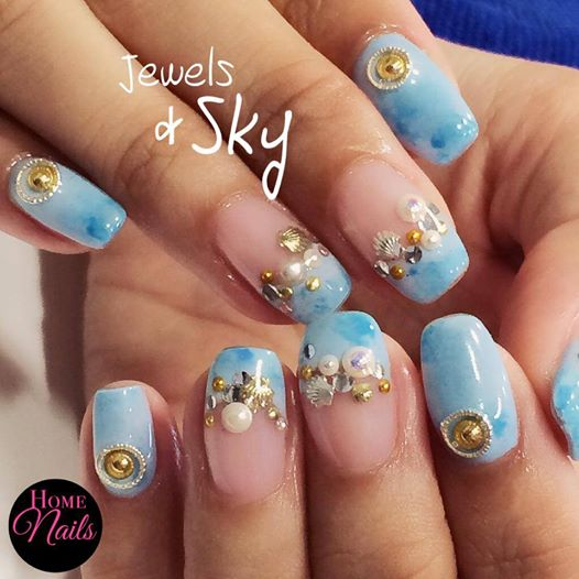 Jewels And Sky Nail Art Design Homenails