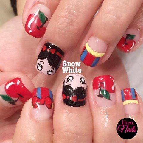 Snow White Themed Nail Art Homenails